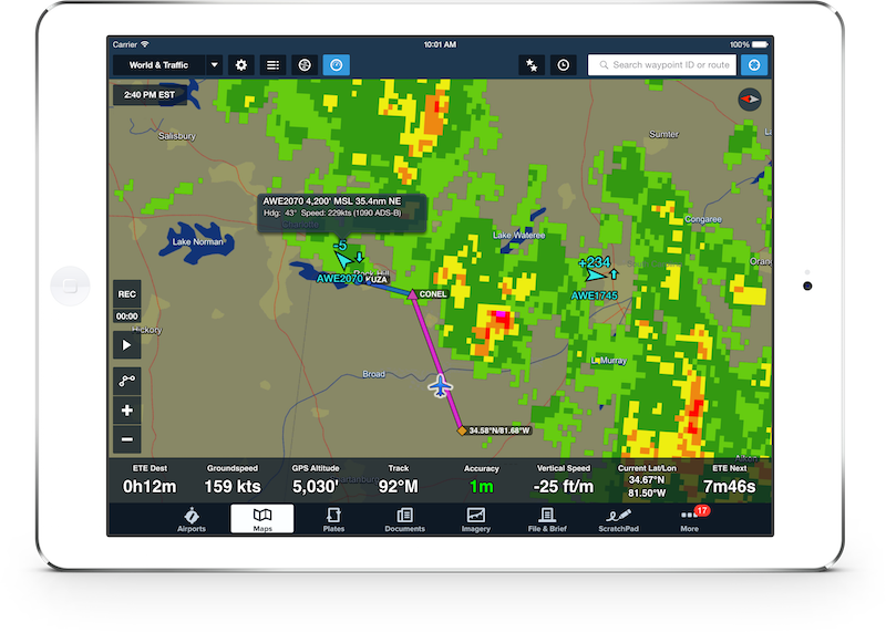 ForeFlight ADS-B weather radar