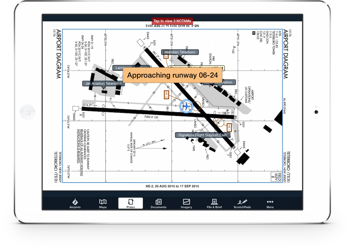 Airport diagram with position and runway alert