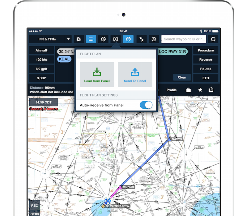 Two way flight plan transfer with Garmin