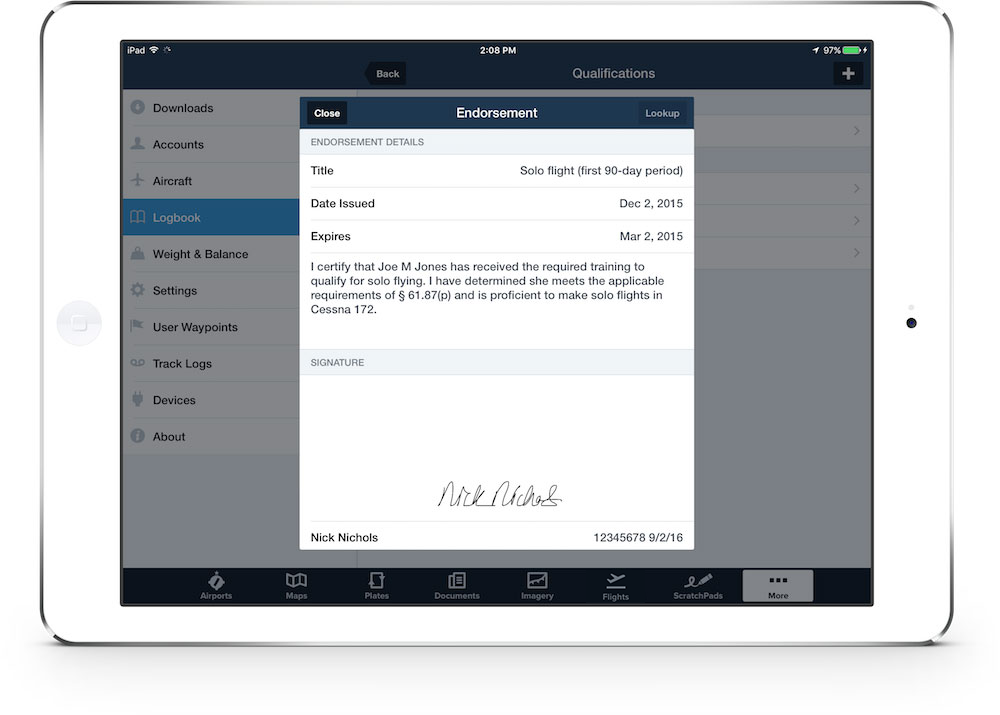 Foreflight digital pilot logbook for ipad and iphone logbook endorsements and digital signatures are locked and stored in the foreflight cloud for safekeeping maxwellsz